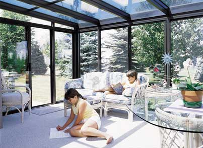glass roof with aluminum frame