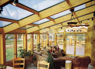 sunroom with wood interior